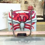 1:1 Gucci Dionysus Crab Embroidered Crocodile Canvas Shoulder Large Bag Fall/Winter 2016 Collection, Light Blue