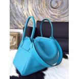 1:1 Hermes Lindy 30cm Taurillon Clemence Calfskin Leather Palladium Hardware Hand Stitched, Turquoise 7B