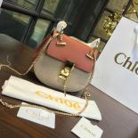 1:1 Quality Chloe Drew Bi-Color Suede Mini Bag With Smooth Calfskin Fall/Winter 2016 Runway Bag Collection, Tan/Sand
