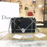 1:1 Quality Christian Dior Diorama Top Stitched Denim With Rhinestone Flower Clasp Silver Hardware Spring/Summer 2016 Collection, Black