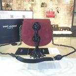 1:1 Quality YSL Saint Laurent Opium Tassel Small 20cm Bag Calfskin/Suede Leather Fall/Winter 2016 Collection, Burgundy/Black