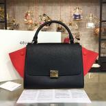 1:1 Replica Celine Trapeze Top Handle Small Bag Grained Calfskin With Suede Leather Pre-Fall Winter 2016 Collection, Black/Red