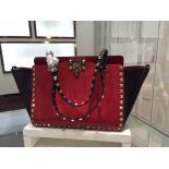 1:1 Replica Valentino Rockstud Tote East-West Medium Bag Calfskin Leather Fall 2015 Collection, Red/Black Coloblock