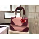 AAA Be Dior Flap Small Flap Shoulder Tri-Color Bag Original Leather Fall/Winter 2015 Collection, Burgundy/Pink/Red
