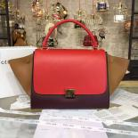 AAA Celine Trapeze Top Handle Medium Bag Smooth Calfskin With Suede Leather Pre-Fall Winter 2016 Collection, Red/Tan/Burgundy