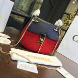AAA Chloe Drew Bi-Color Suede Small Bag With Smooth Calfskin Fall/Winter 2016 Runway Bag Collection, Navy Blue/Red