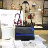 AAA Christian Dior Be Dior Double Flap Bag Calfskin Leather 28cm Large Bag Spring/Summer 2016 Collection, Blue/Black