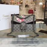 AAA Gucci Dionysus GG Supreme Blooms Print Medium Shoulder Bag Fall/Winter 2016 Collection, Black Suede/Beige