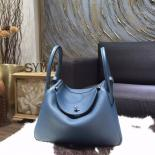 AAA Hermes Bi-Color Lindy 26cm/30cm Taurillon Clemence Calfskin Bag Hand Stitched, Colvert 1P, Blue Turquoise 7B