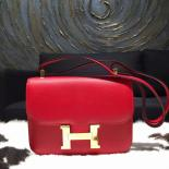 AAA Hermes Constance 24cm Epsom Calfskin Original Leather Hand Stitched, Rouge Casaque Q5
