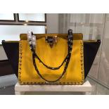 AAA Valentino Rockstud Tote East-West Small Bag Calfskin Leather Fall 2015 Collection, Yellow/Black Coloblock