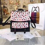 Best Cheap Dior Floral Embroidered Stardust Large Backpack Bag Lambskin Leather Fall/Winter 2016 Collection, Black/Pink