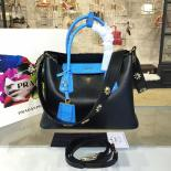 Best Cheap Prada Saffiano Double Handle Tote Bag With Croc Stamp 33cm Fall/Winter 2016 Bag Collection, Black/Blue