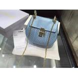 Best Replica Chloé Drew Perforated Small Shoulder Bag Python Leather, Blue