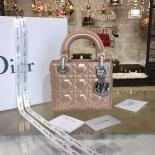 Best Replica Lady Dior Iridescent Nubuck Calfskin Mini 17cm Bag With Chain Cruise 2016 Collection, Light Pink