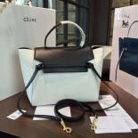 Celine Belt Top Handle Mini Bag Grained Calfskin Leather Pre-Fall Winter 2016 Collection, White/Black