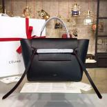 Celine Belt Top Handle Mini Bag Smooth Calfskin Leather Pre-Fall Winter 2016 Collection, Black With Red Piping