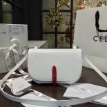 Celine Clutch On Strap Bag Grained Calfskin Pre-Fall Winter 2016 Collection, White/Red