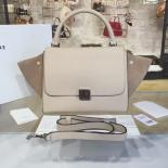 Celine Trapeze Top Handle Medium Bag Grained Calfskin With Suede Leather Pre-Fall Winter 2016 Collection, Beige