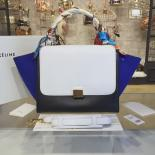 Celine Trapeze Top Handle Small Bag Grained Calfskin With Suede Leather Pre-Fall Winter 2016 Collection, White/Black/Blue
