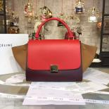 Celine Trapeze Top Handle Small Bag Smooth Calfskin With Suede Leather Pre-Fall Winter 2016 Collection, Red/Tan/Burgundy