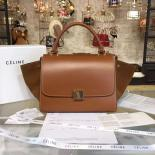 Celine Trapeze Top Handle Small Bag Smooth Calfskin With Suede Leather Pre-Fall Winter 2016 Collection, Tan