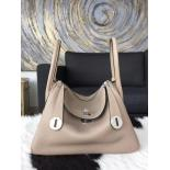 Cheap Replica Hermes Lindy 26cm/30cm Taurillon Clemence Calfskin Bag Hand Stitched, Elephant Gray