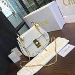 Chloe Drew Perforated Embroidered Bag Smooth Calfskin Fall/Winter 2016 Runway Bag Collection, White