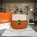 Chloe Drew Shoulder Bag Leather Pre-Fall 2015 Collection, White/Rust Brown