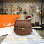Chloe Drew Shoulder Stitch Bag Leather Pre-Fall 2015 Collection, Gold Brown