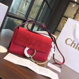 Chloe Faye Bi-Color Suede Small Shoulder Bag With Smooth Calfskin Fall/Winter 2016 Runway Collection, Red