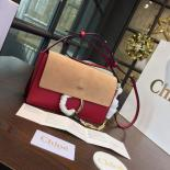 Chloe Faye Bi-Color Suede Small Shoulder Bag With Smooth Calfskin Fall/Winter 2016 Runway Collection, Red/Sand