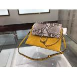 Chloe Faye Medium Bag In Suede Calfskin And Pattern Python Pre-Spring 2015 Collection, Mustard