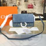 Chloe Faye Small Studded Circle Leather & Suede Shoulder Bag Pre-Fall 2016 Collection, Blue