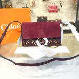 Chloe Faye Small Studded Circle Leather & Suede Shoulder Bag Pre-Fall 2016 Collection, Burgundy