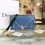 Christian Dior Diorama Top Stitched Denim With Rhinestone Flower Clasp Silver Hardware Spring/Summer 2016 Collection, Light Blue