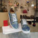 Christian Louboutin Bip Bip Louis Low-Top Sneakers With Red Bottom, Light Blue