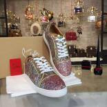 Christian Louboutin Bip Bip Louis Low-Top Sneakers With Red Bottom, Light Pink