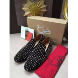Christian Louboutin Dandelion Rhinestones/Spikes Flat Calf Men's Flat Loafers With Red Bottom, Black With Silver Spikes