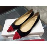Christian Louboutin Geo Patent Leather & Spiked Cap-Toe Ballet Flats, Black With Red Cap Toe