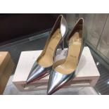 Christian Louboutin Iriza Half D'Orsay Patent Leather Pumps 100mm, Silver