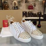Christian Louboutin Louis Junior Spikes Low-Top Sneaker With Red Bottom, White/Gold