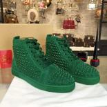 Christian Louboutin Louis Spikes Flat Men's Lace Up Sneakers With Red Bottom, Green