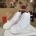 Christian Louboutin Louis Spikes Flat Men's Lace Up Sneakers With Red Bottom, White