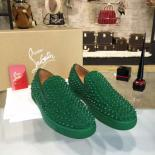Christian Louboutin Roller Boat Slide On Spikes Low-Top Suede Sneaker With Red Bottom, Green