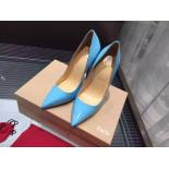 Christian Louboutin So Kate Patent Leather Pumps 120mm, Light Blue