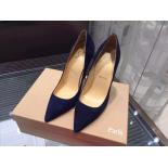 Christian Louboutin So Kate Suede Leather Pumps 120mm, Midnight Blue