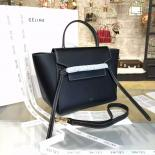 Copy Celine Belt Top Handle Mini Bag Smooth Calfskin Leather Pre-Fall Winter 2016 Collection, Black With White Stitching