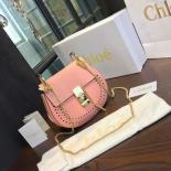 Copy Chloe Drew Perforated Embroidered Bag Smooth Calfskin Fall/Winter 2016 Runway Bag Collection, Light Pink