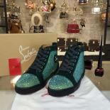 Copy Christian Louboutin Strass-Embellished Louis Flat Sneakers With Red Bottom, Emerald Green